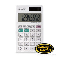 EL244WB SHARP 8 DIGIT CALCULATOR WITH LARGE DISPLAY, DUAL PO