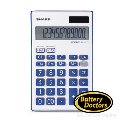 EL124TBBL SHARP 12 DIGIT CALCULATOR, CONVERT FUNCTION, 4 MEM