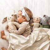 Jersey Knit Cotton Swaddle Blanket and Beanie Gift Set - Ivory