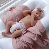 Jersey Knit Cotton Swaddle Blanket , Beanie & Headband Gift Set - Dusty Rose