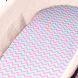 Bassinet Sheet Set I Pink Chevron and Polka Dots