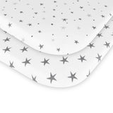 Waterproof Bassinet Sheet Set I Grey Stars