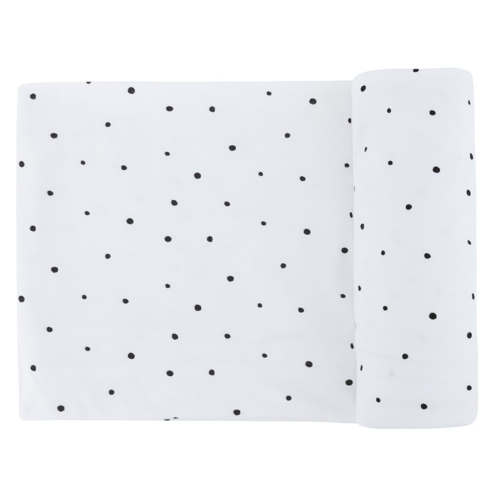 Black Polka Dot Jersey Swaddle Blanket