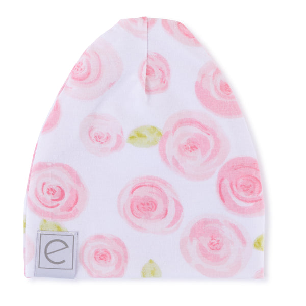 Jersey Cotton Beanie Hat - Rose Print