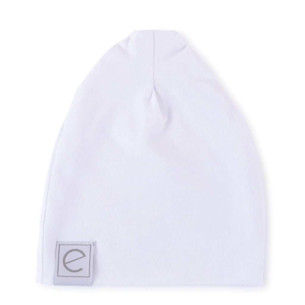 Jersey Cotton Beanie Hat - White