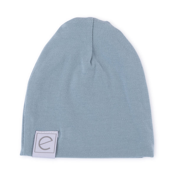 Jersey Cotton Beanie Hat - Dusty Blue