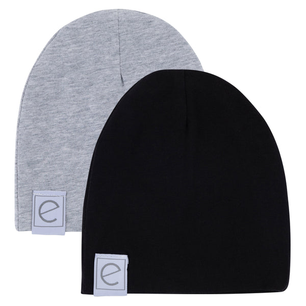 2 Pack Jersey Cotton Beanie Hat Set - Heather Grey & Black