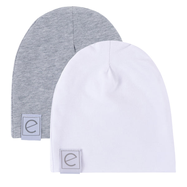 2 Pack Jersey Cotton Beanie Hat Set - Heather Grey & White