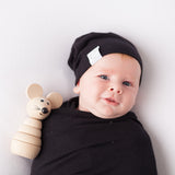 2 Pack Jersey Cotton Beanie Hat Set - Khaki & Black