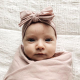 Jersey Knit Cotton Swaddle Blanket , Beanie & Headband Gift Set - Mauve