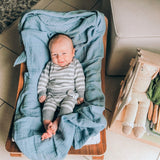 Cotton Muslin Swaddle Blanket I Blue Raindrop Collection