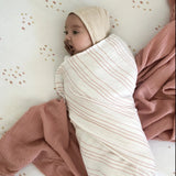 Cotton Muslin Swaddle Blanket I Dusty Rose Stars -  3 Pack