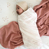 Cotton Muslin Swaddle Blanket I Rosewater & Cranberry