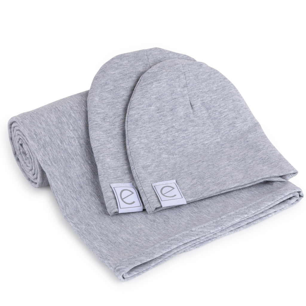 Jersey Knit Cotton Swaddle Blanket and Beanie Gift Set - Heather Grey
