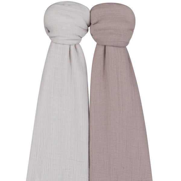 Cotton Muslin Swaddle Blanket I Pebble Grey & Simply Taupe