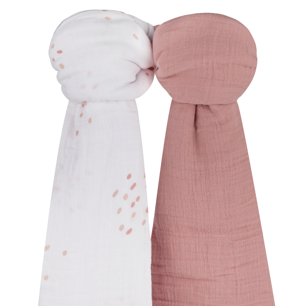 Cotton Muslin Swaddle Blanket I Pink Raindrops Collection