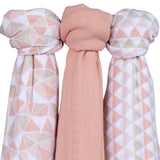 Bamboo Muslin Swaddles I Blush Triangle Design - 3 Pack