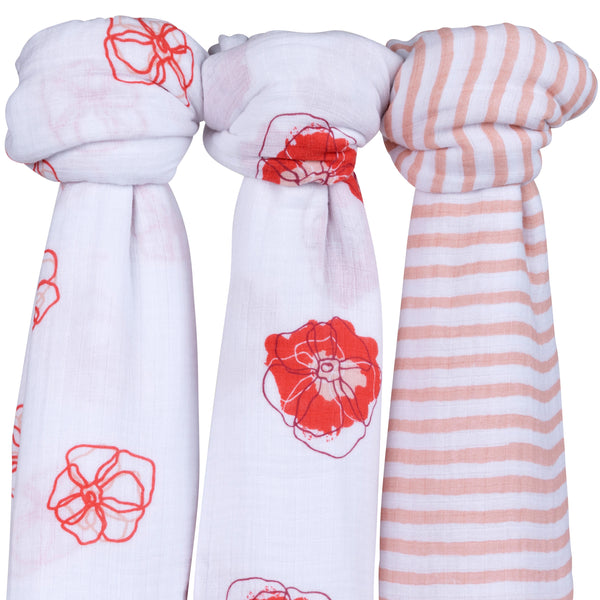 Cotton Muslin Swaddle Blanket I Poppy Flower Design - 3 Pack