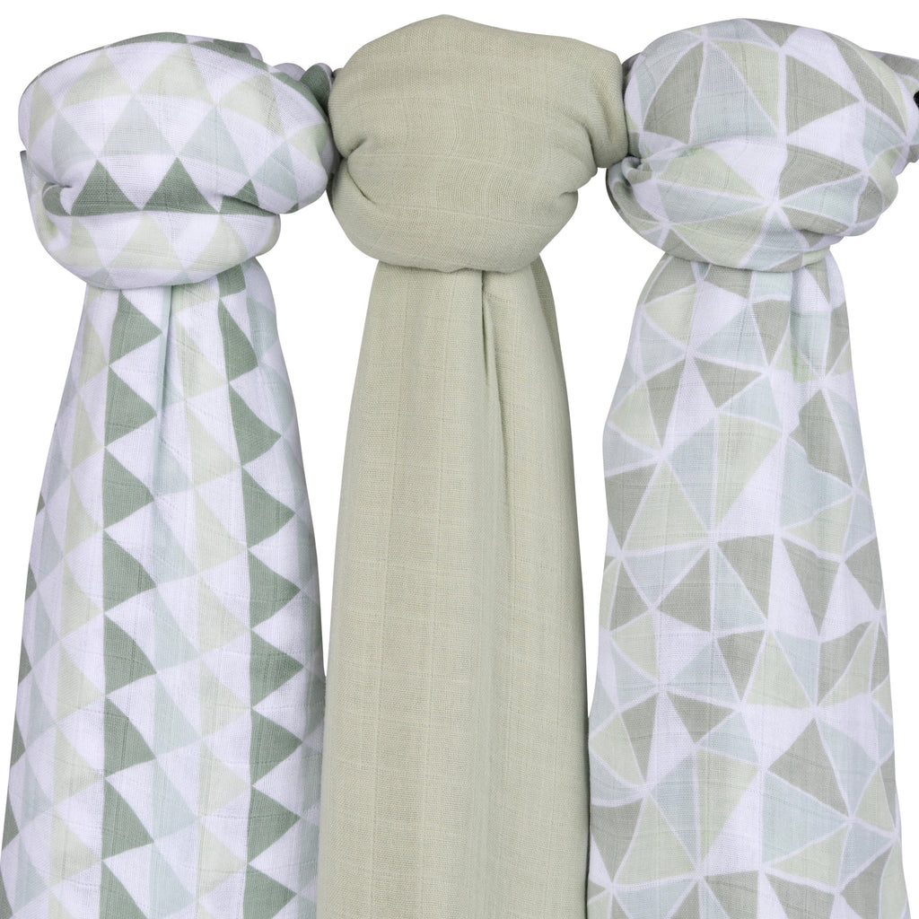 Bamboo Muslin Swaddles I Sage Triangles