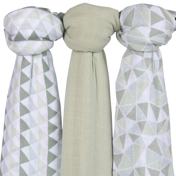 Bamboo Muslin Swaddles I Sage Triangle Design - 3 Pack