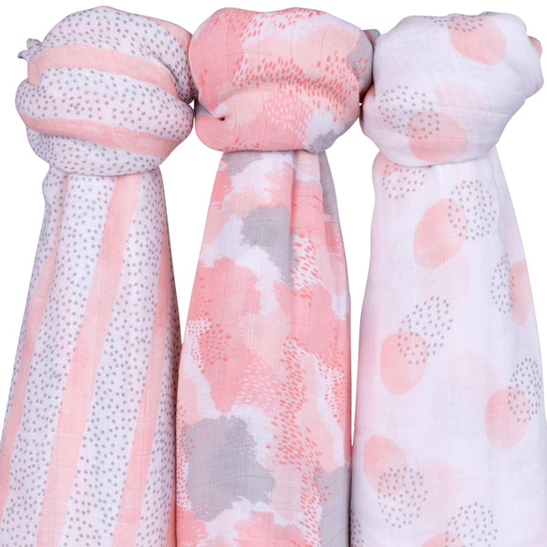 Bamboo Muslin Swaddles I Blush Abstract Design - 3 Pack
