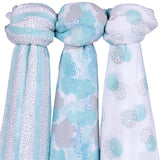Bamboo Muslin Swaddles I Blue Abstract Design - 3 Pack