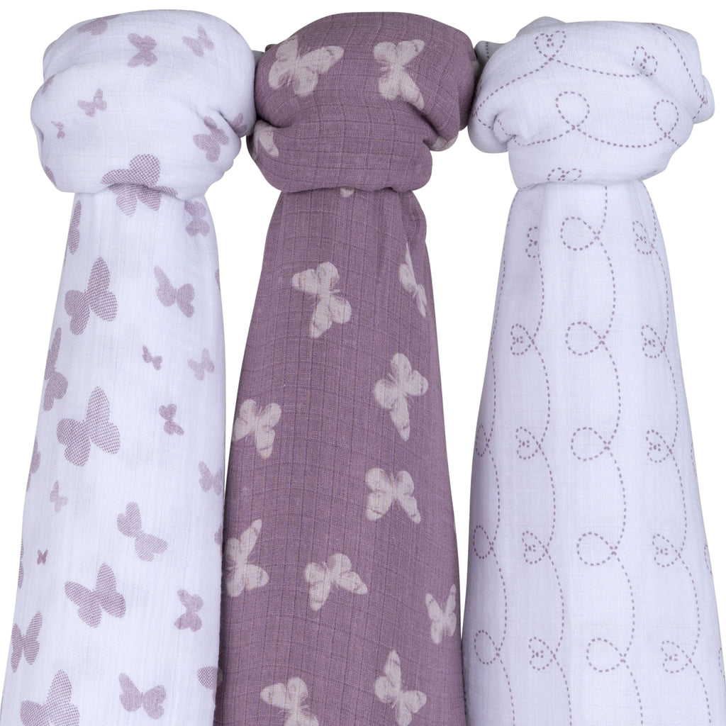 Cotton Muslin Swaddle Blanket I Lavender Butterfly Design - 3 Pack