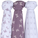 Cotton Muslin Swaddle Blanket I Lavender Butterfly Design - 3 Pack by Ely's & Co.