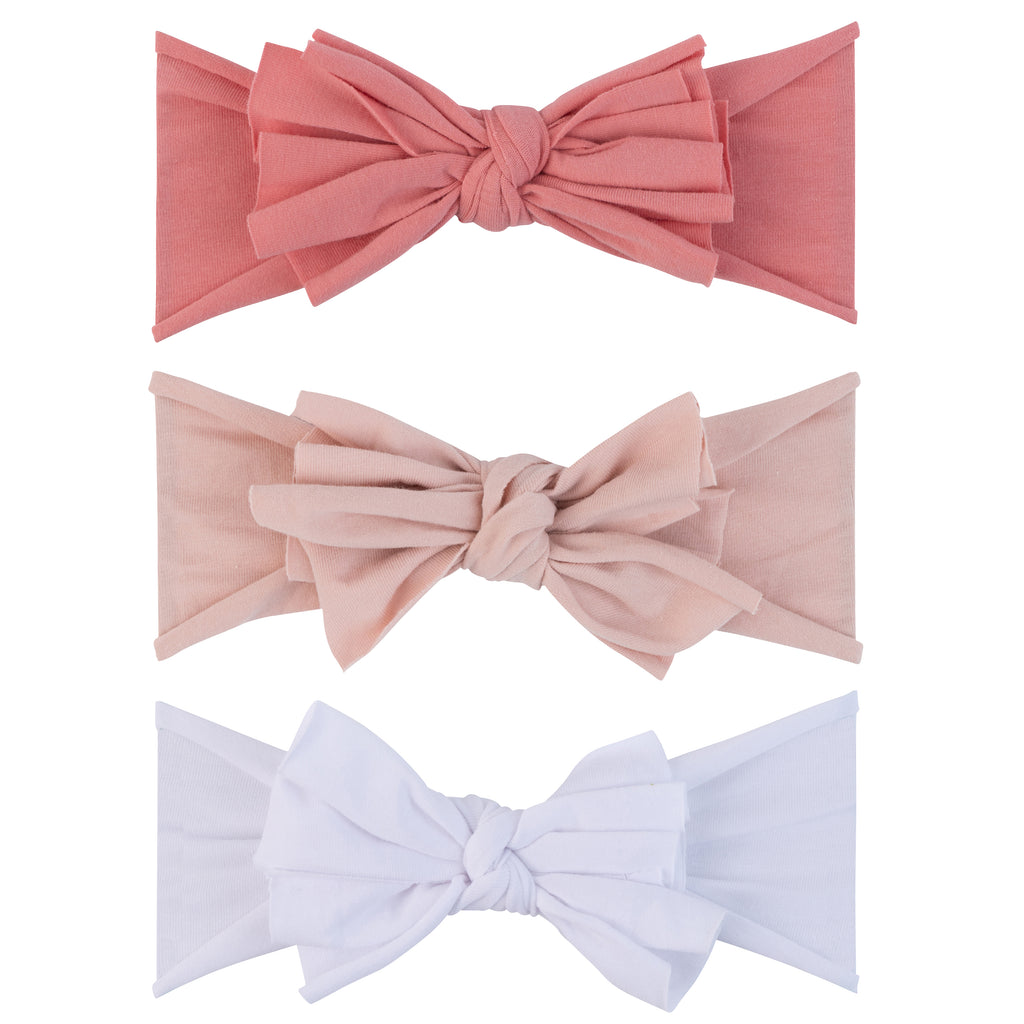 3 Pack Headband Set - Fuchsia, Blush & White