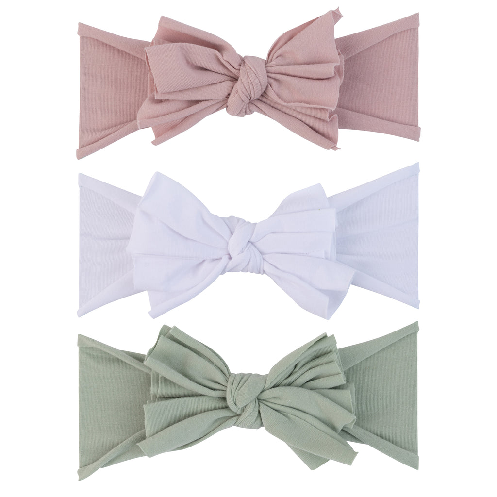 3 Pack Headband Set - Sage, Mauve, & White