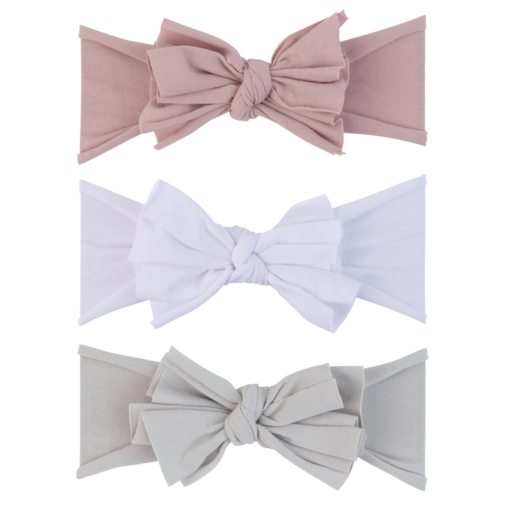 3 Pack Headband Set - Mauve Lavender, Grey & White