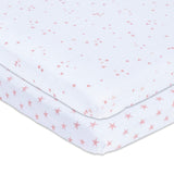 Pack N Play I Mini Crib Sheet Set - Mauve Pink Stars