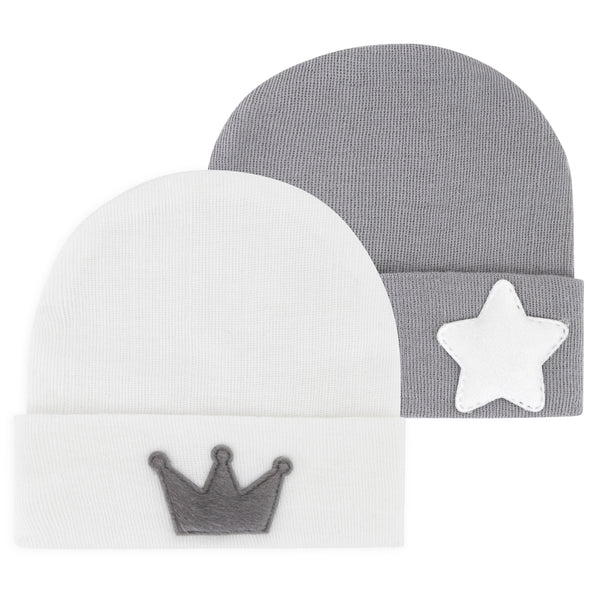 Newborn Hospital Hats - Grey & White