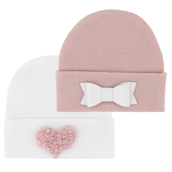 Newborn Hospital Hats - Pink & White