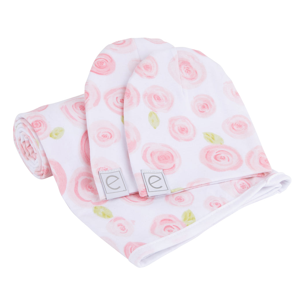 Jersey Knit Cotton Swaddle Blanket and Beanie Gift Set - Rose Print
