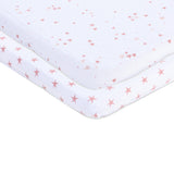 Bassinet Sheet Set I Mauve Pink Stars