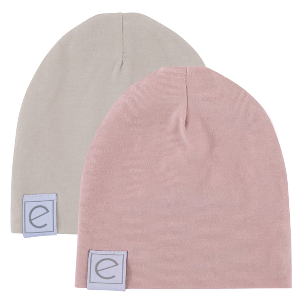 2 Pack Jersey Cotton Beanie Hat Set - Blush & Tan