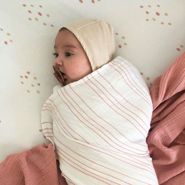 Cotton Muslin Swaddle Blanket I Pink Raindrops Collection 1