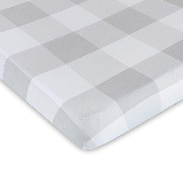 Fitted Crib Sheet 100% Premium Jersey Cotton 1 Pack Gingham Neutral Grey for Baby Girl or Boy
