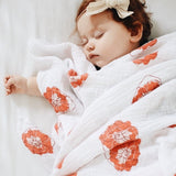 Cotton Muslin Swaddle Blanket I Poppy Flower Design - 3 Pack by Ely's & Co.