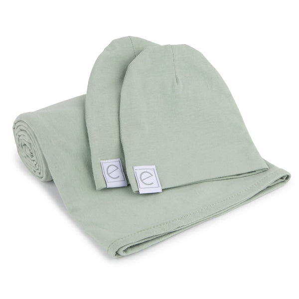 Jersey Knit Cotton Swaddle Blanket and Beanie Gift Set - Sage