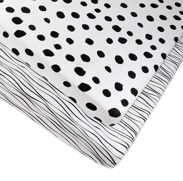 Pack N Play Mini Crib Sheet Black And White Abstract