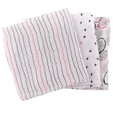 Muslin Swaddle Blankets I Black and Hot Pink Abstract Circle Print
