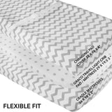 Changing Pad Cover / Cradle Sheet Set I Grey Chevron and Polka Dot