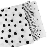 Cotton Muslin Swaddle Blanket I Black and White Abstract Combo