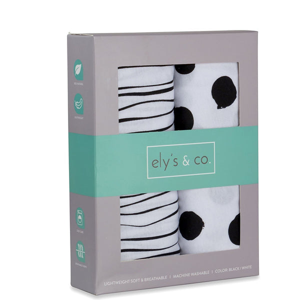 Pack n Play / Mini Crib Sheet | Black and White Abstract
