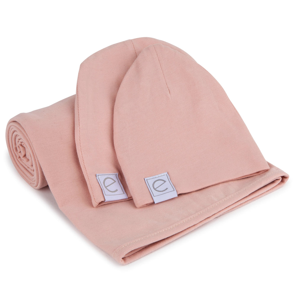 Jersey Knit Cotton Swaddle Blanket and Beanie Gift Set - Pink