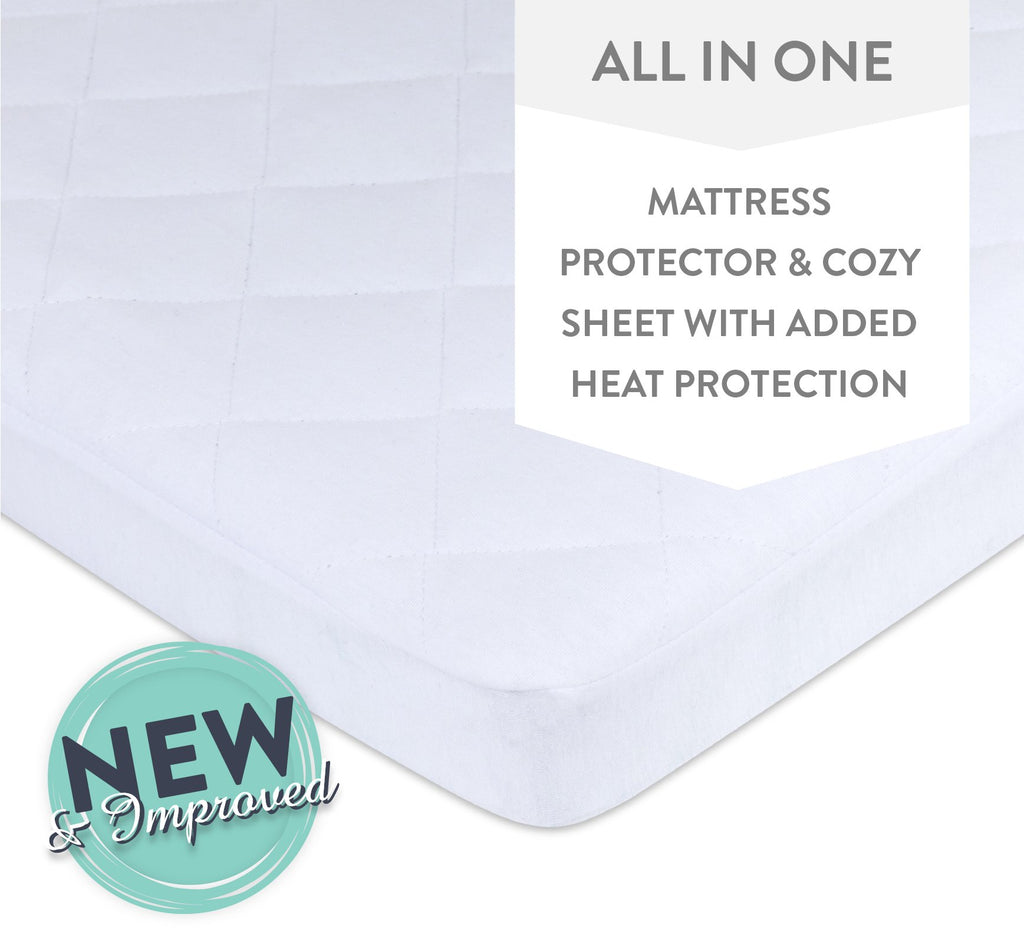 Waterproof Cotton Quilted Pack n Play Mattress Pad Cover and Cozy Sheet, White by Ely's & Co