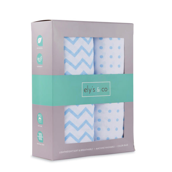 Crib Sheet Set I Blue Chevron and Polka Dots