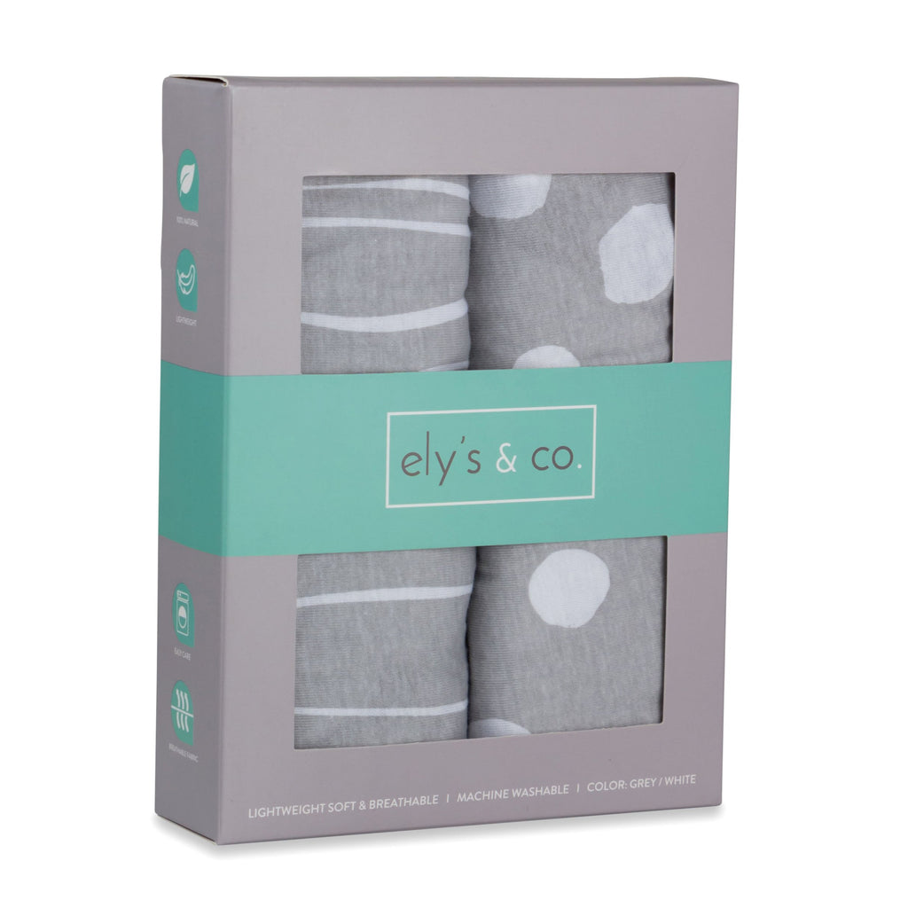 Pack n Play / Mini Crib Sheet Set | Grey and White Abstract